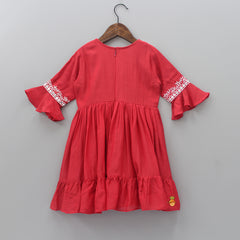 Pre Order: Red Embroidered And Abhla Work Dress