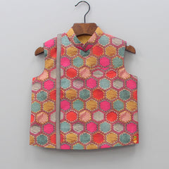 Pre Order: Kurta And Churidar With Hexagon Print Jacket