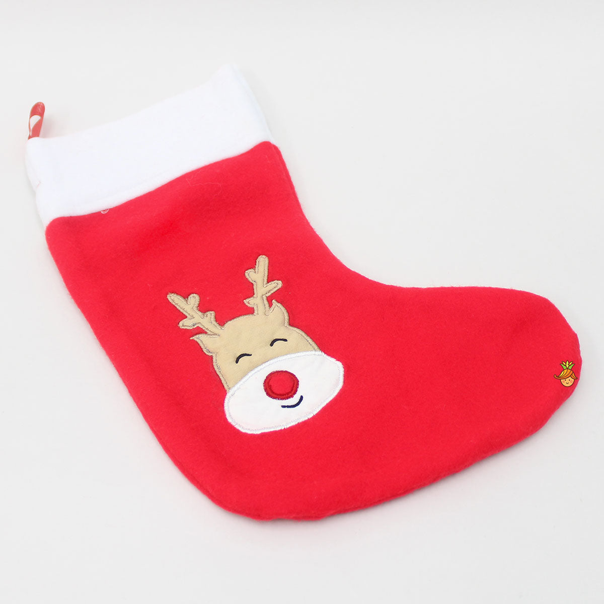 Reindeer Face Patch Flannel Stocking