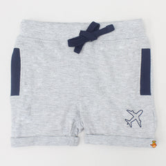 Aeroplane Print Cotton Shorts - Set Of 2