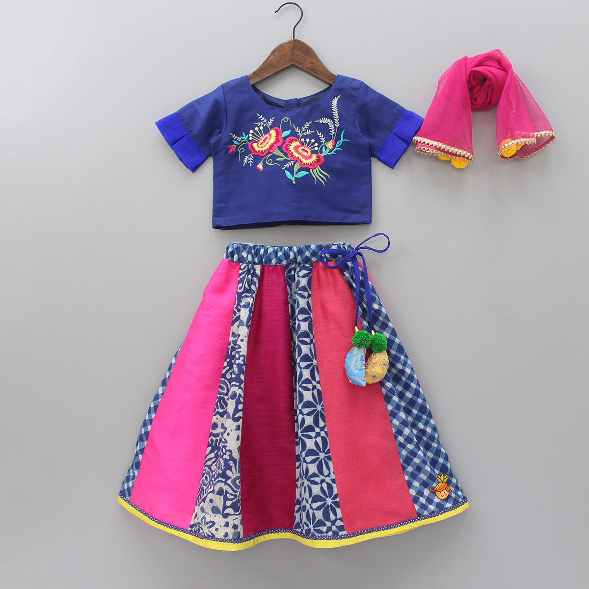 Pre Order: Embroidered Top With Multicolor Lehenga And Dupatta