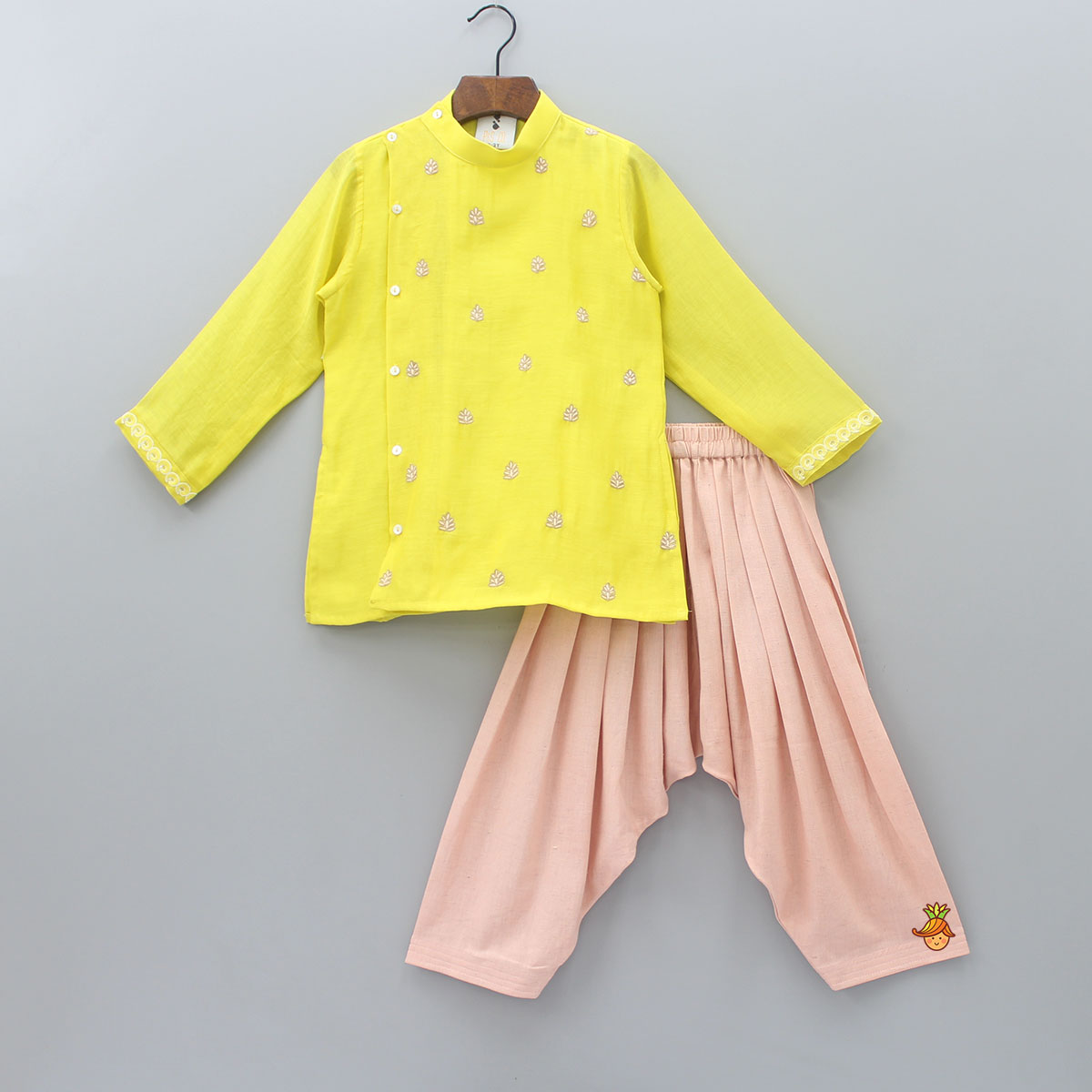 Pre Order: Yellow Embroidered Kurta And Patiala