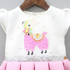 Pre Order: Sequin Llama Dress With Bowy Hairband