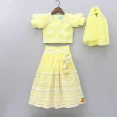 Pre Order: Yellow Chikankari And Sequin Work Top And Lehenga With Dupatta