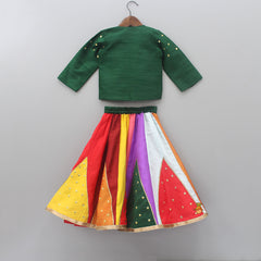 Pre Order: Top With Rose Embellished And Mirror Work Jacket With Multicolor Ghagra