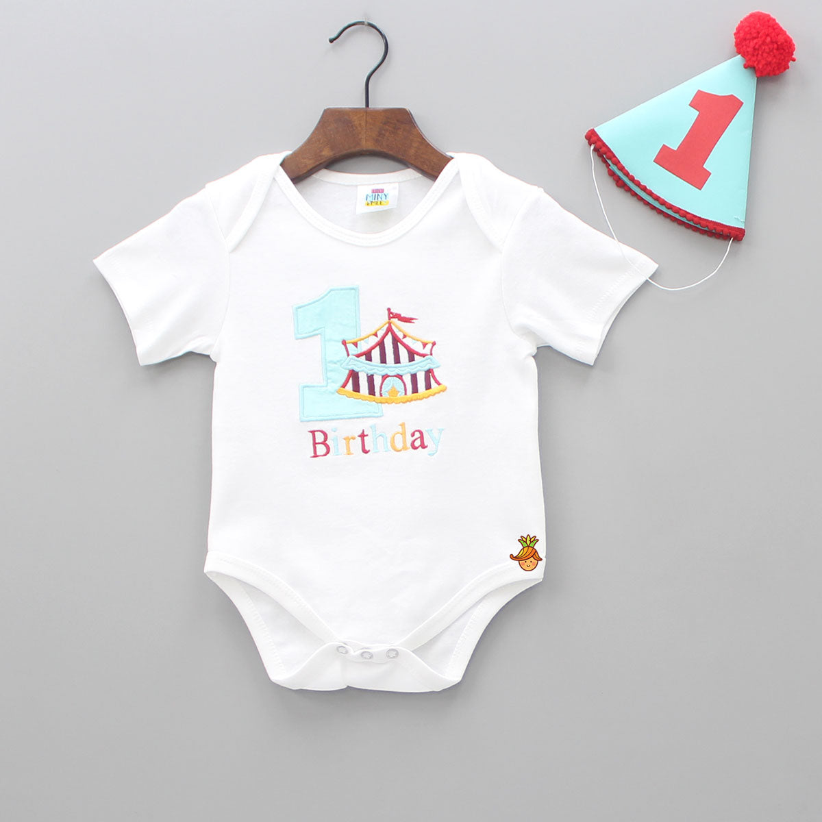 First Birthday Patch Bodysuit With Cap