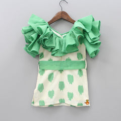 Pre Order: Frilly Ikkat Print Dress