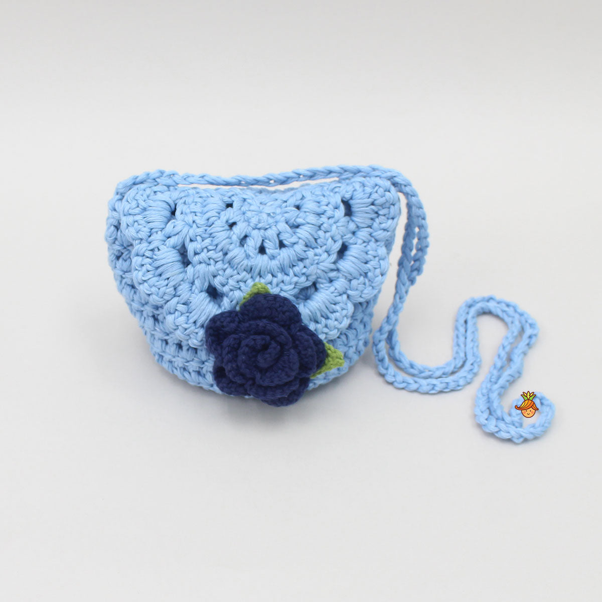 Blue Crochet Sling Bag