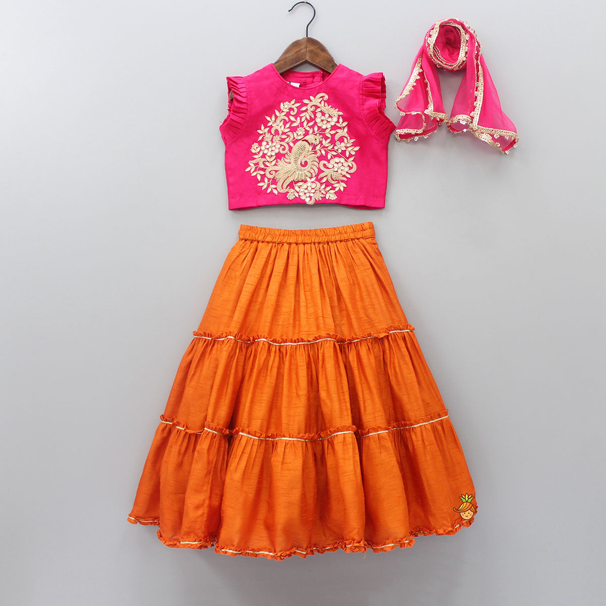 Pre Order: Floral And Bird Thread Work Top With Lehenga And Dupatta