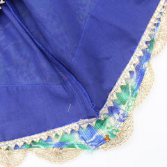 Embroidered And Sequin Work Blue Top And Printed Ghagra