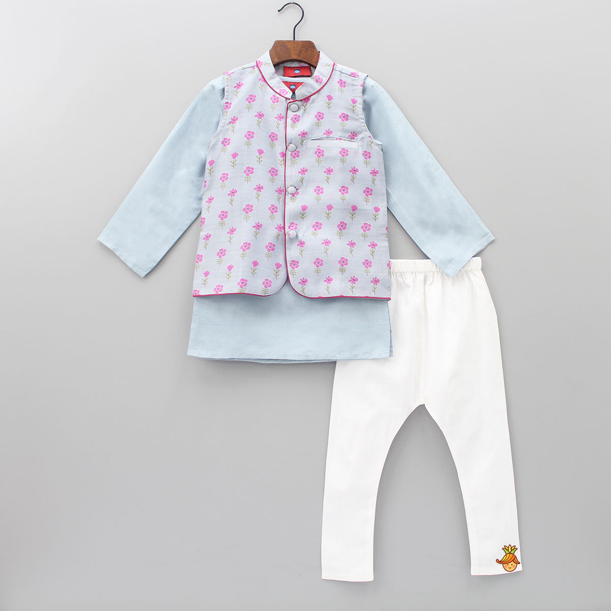 Pre Order: Kurta With Flower Printed Jacket And Pyjama