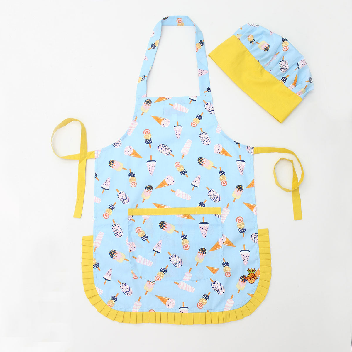Frozen Dessert Printed Apron And Cap Set
