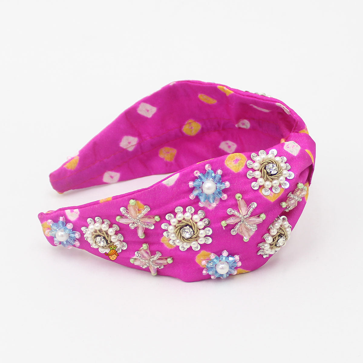 Pre Order: Multicolor Stone And Sequin Embroidered Hairband
