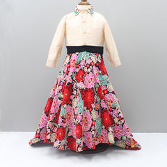 Pre Order: Top With Rose Embroidered High Low Lehenga