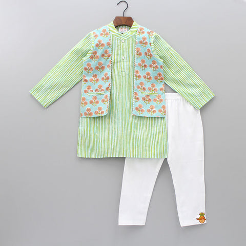Pre Order: Printed Kurta With Attached Floral Printed Jacket And Pyjama