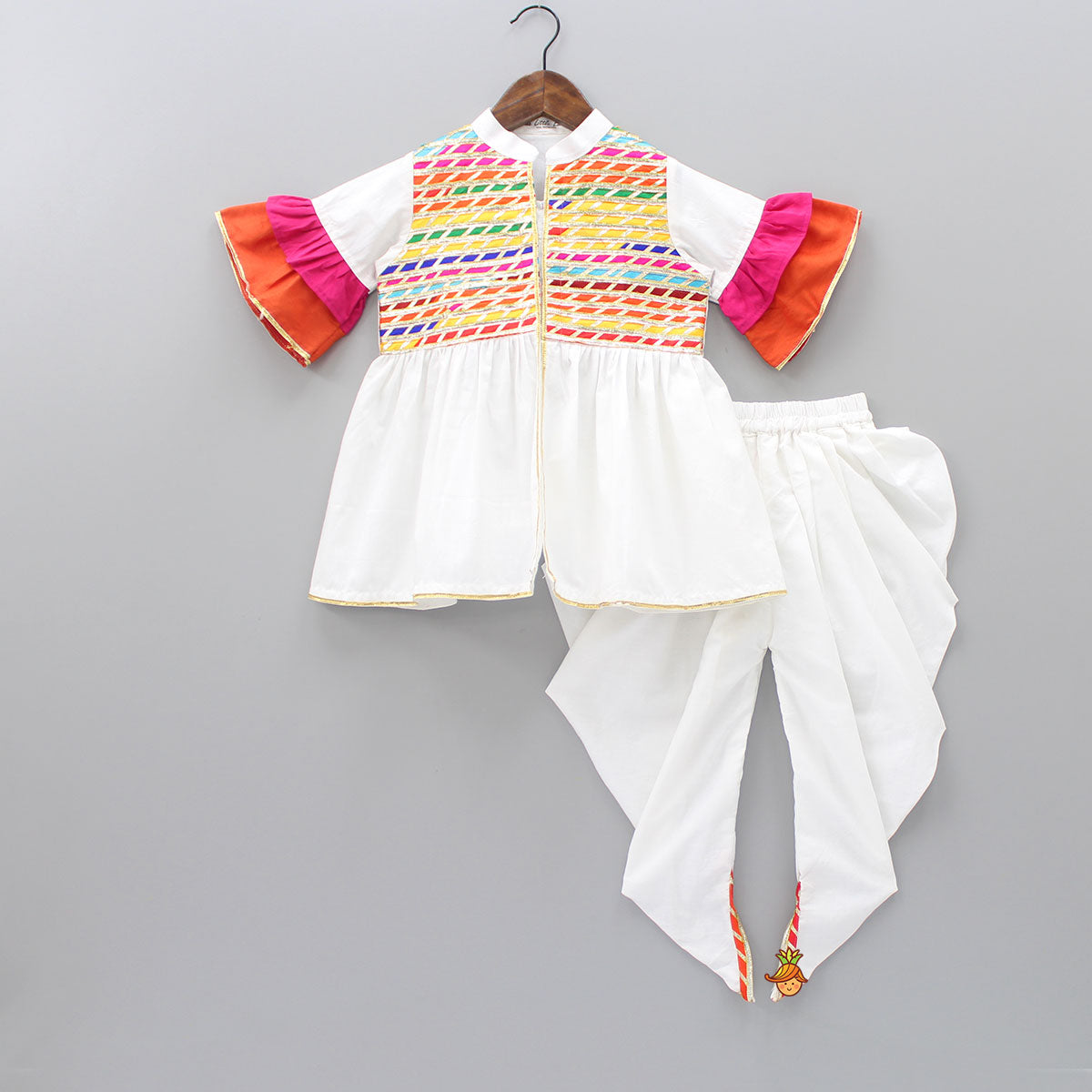 Pre Order: Multicolor Lace Work Top With Dhoti