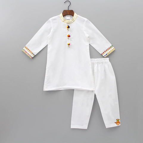 Pre Order: Pom - Pom Detailed Kurta With Pyjama