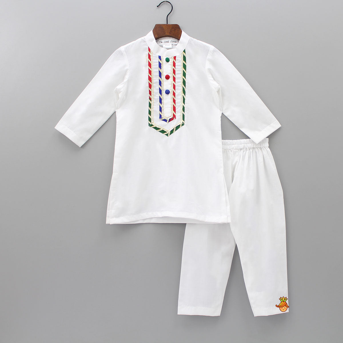 Pre Order: Multicolor Lace Work Kurta And Pyjama