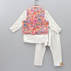 Kurta With Floral Jacket And Pyjama