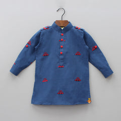 Car Embroidered Kurta With Red Patiala