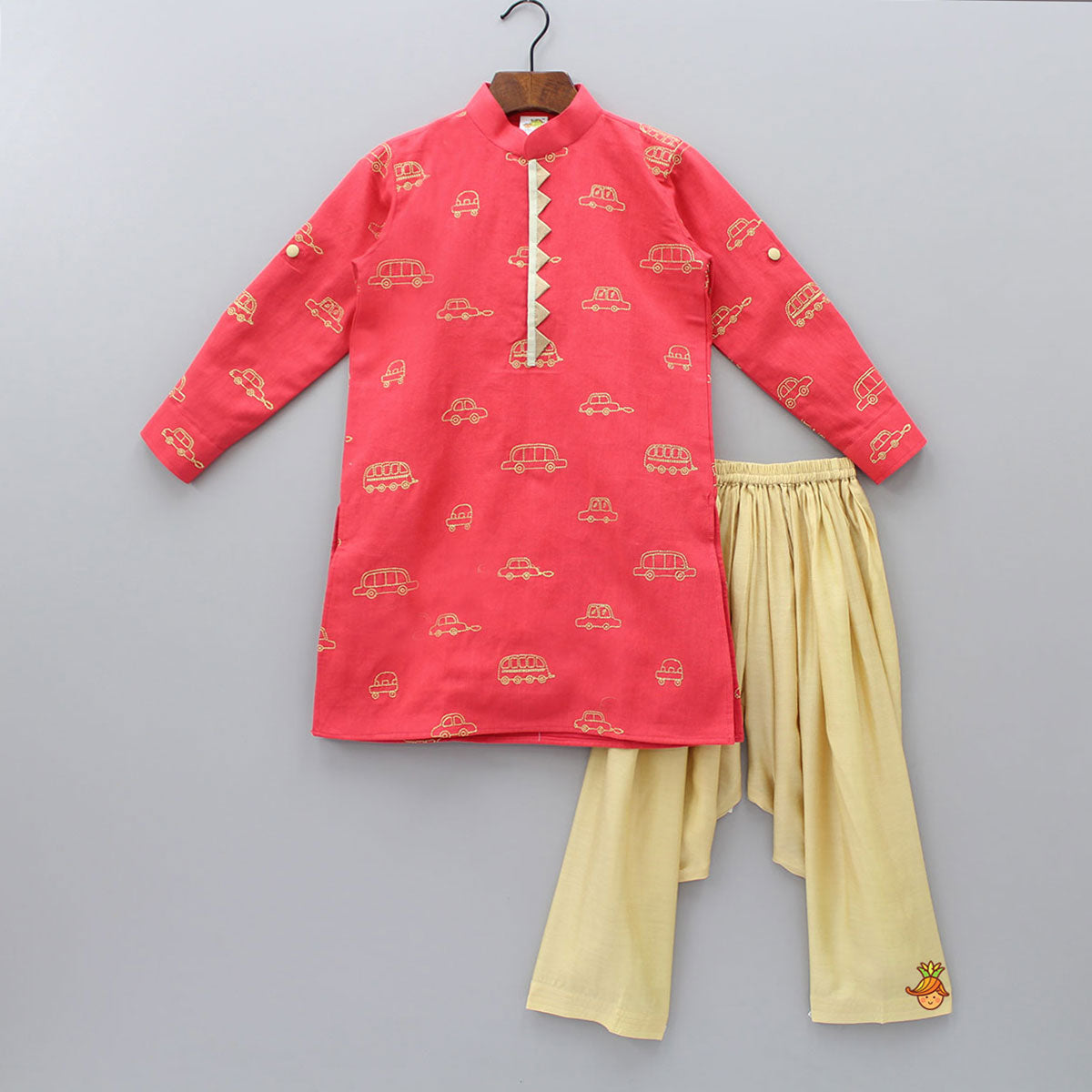 Vehicle Embroidered Kurta With Beige Patiala