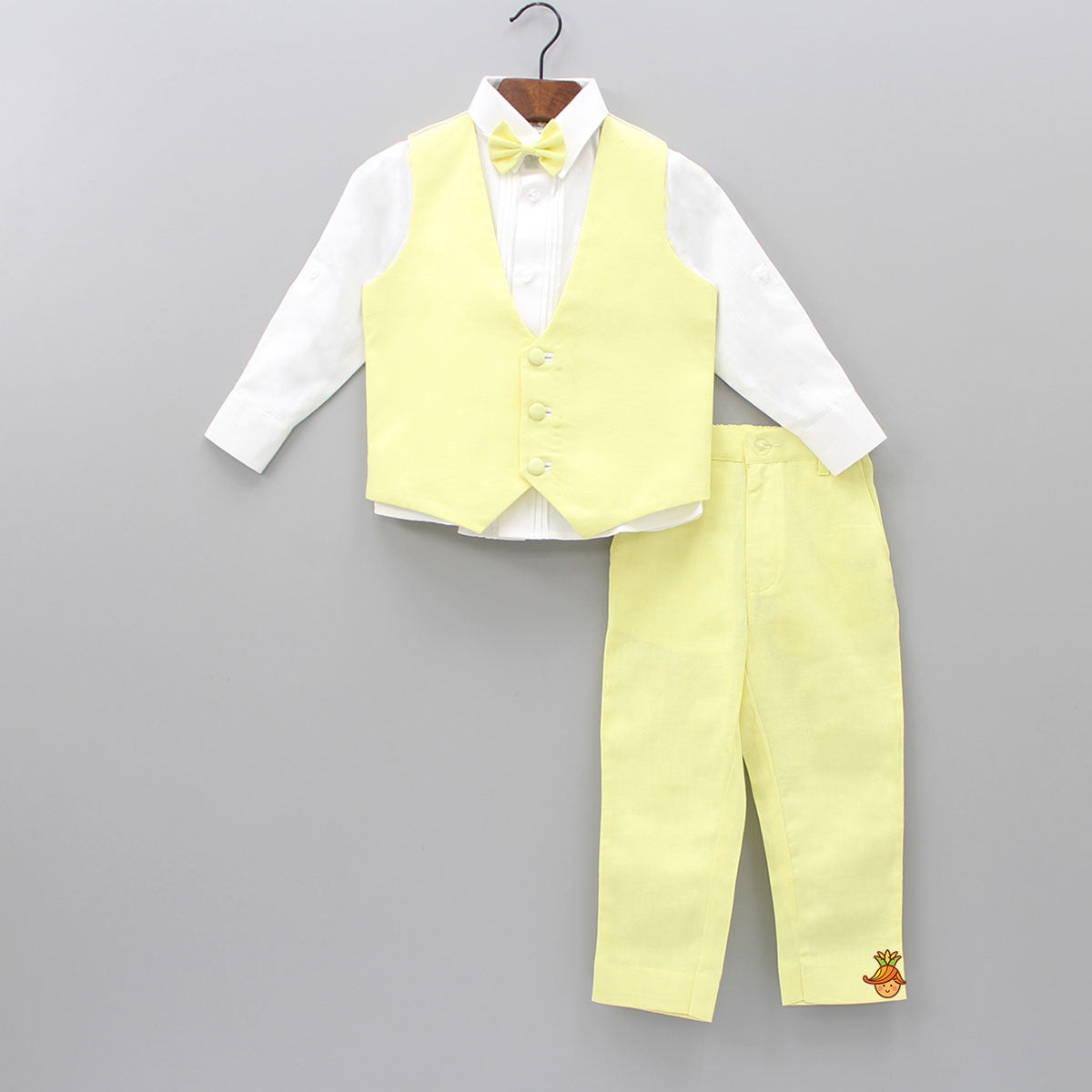 White Shirt And Yellow Pant With Waistcoat And Bow