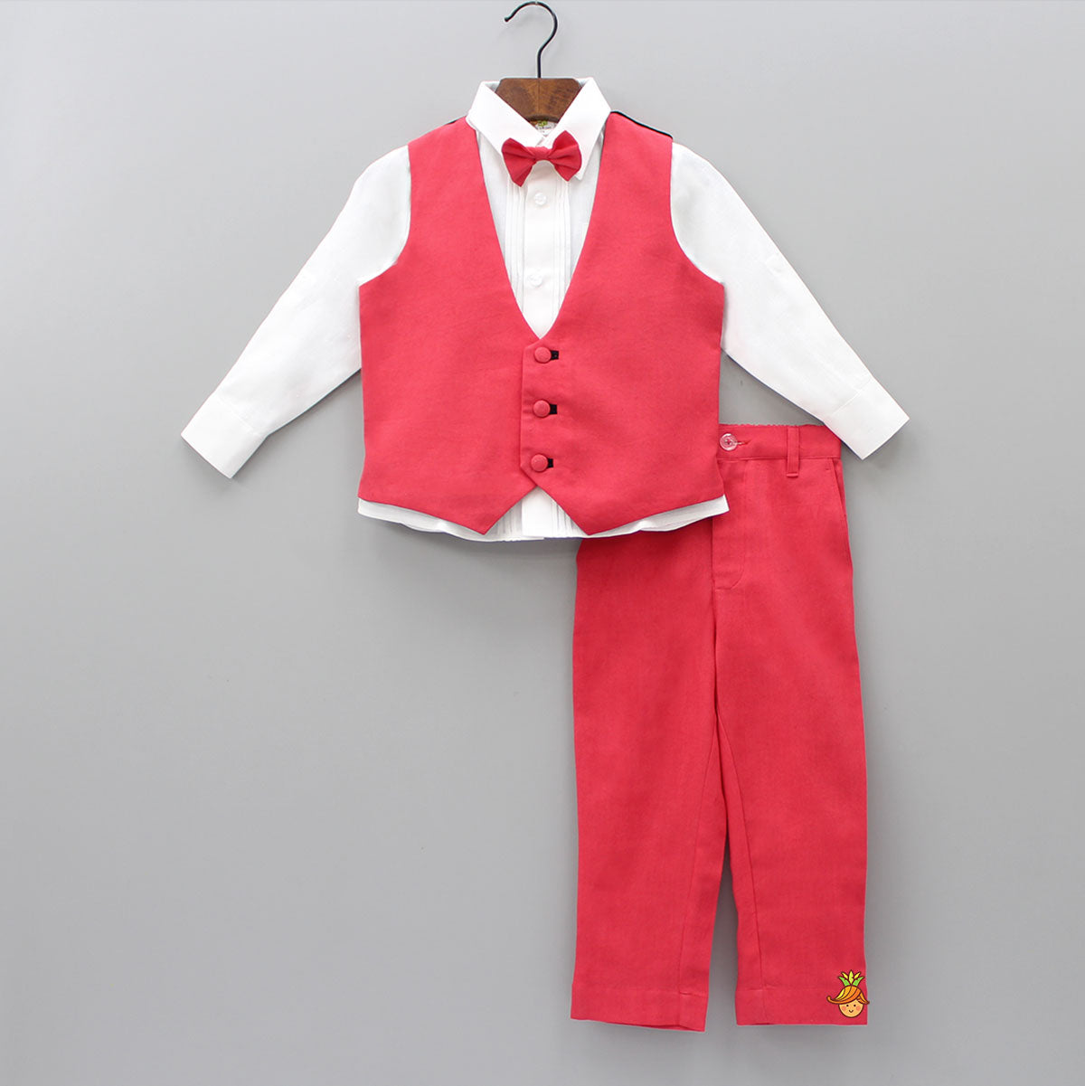 White Shirt And Red Pant With Waistcoat And Bow