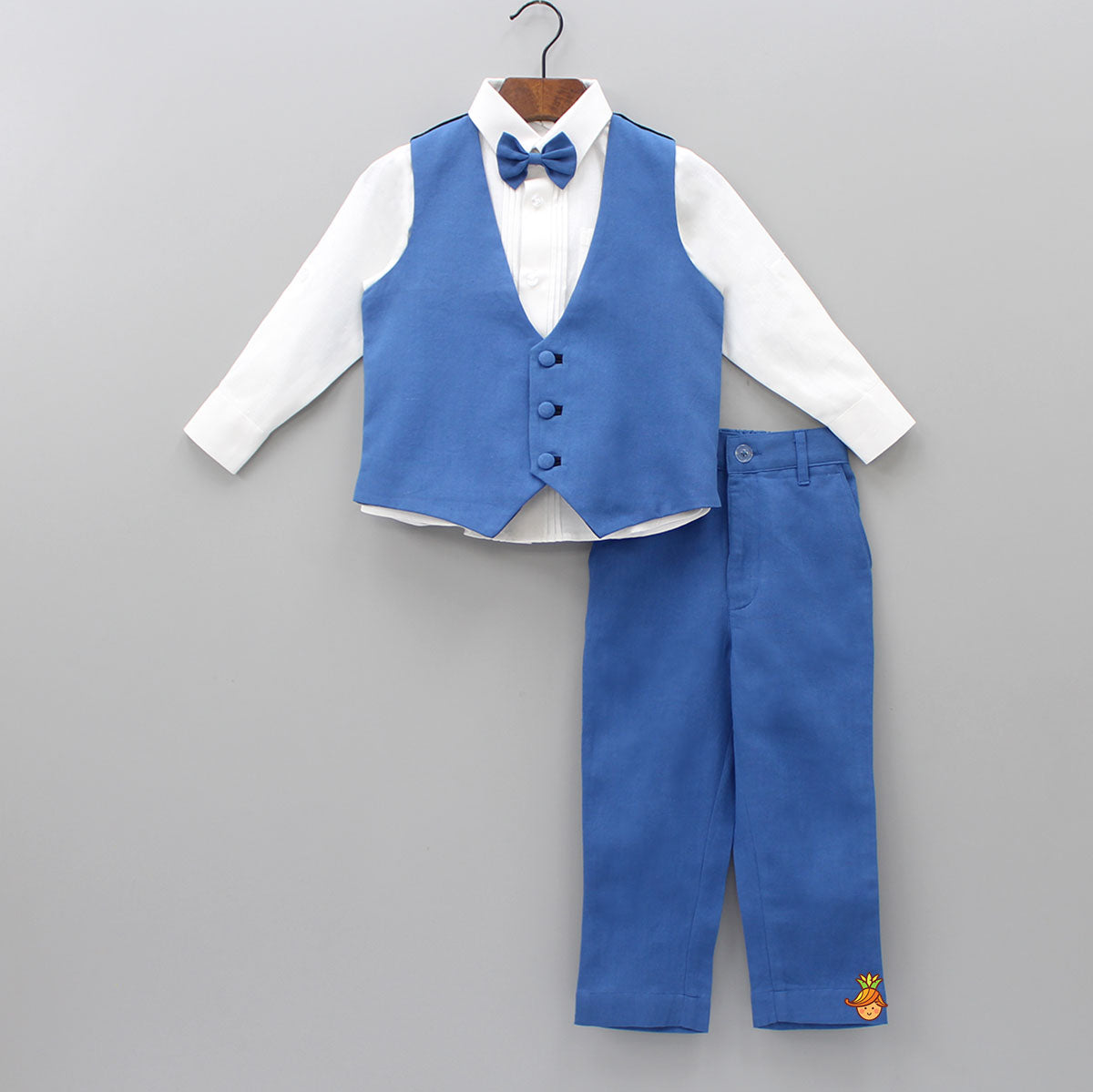 White Shirt And Navy Blue Pant With Waistcoat And Bow