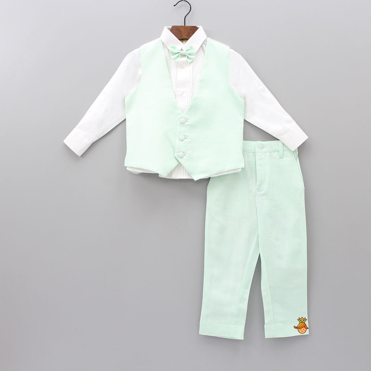 White Shirt And Mint Green Pant With Waistcoat And Bow