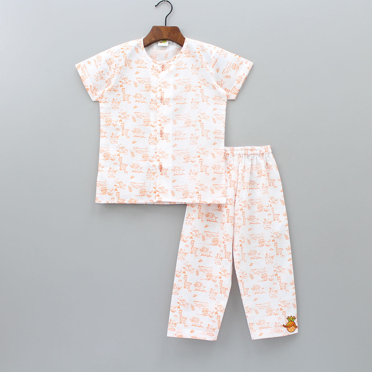 Orange Forest Print Half Sleeves Sleepwear