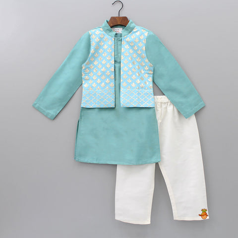 Pre Order: Kurta With Blue Attached Jacket And Pyjama