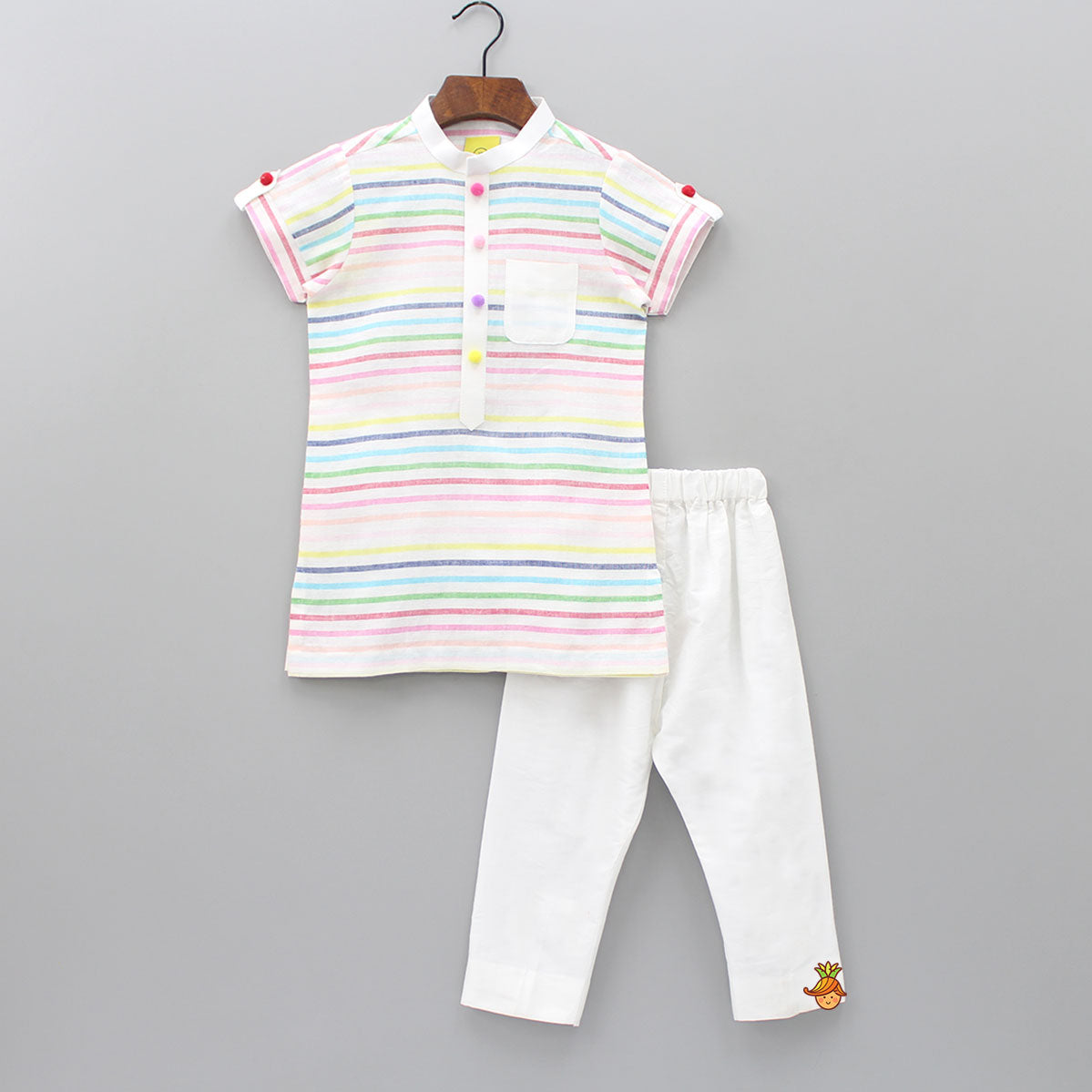 Pre Order: Multi Color Stripped Kurta With White Pant