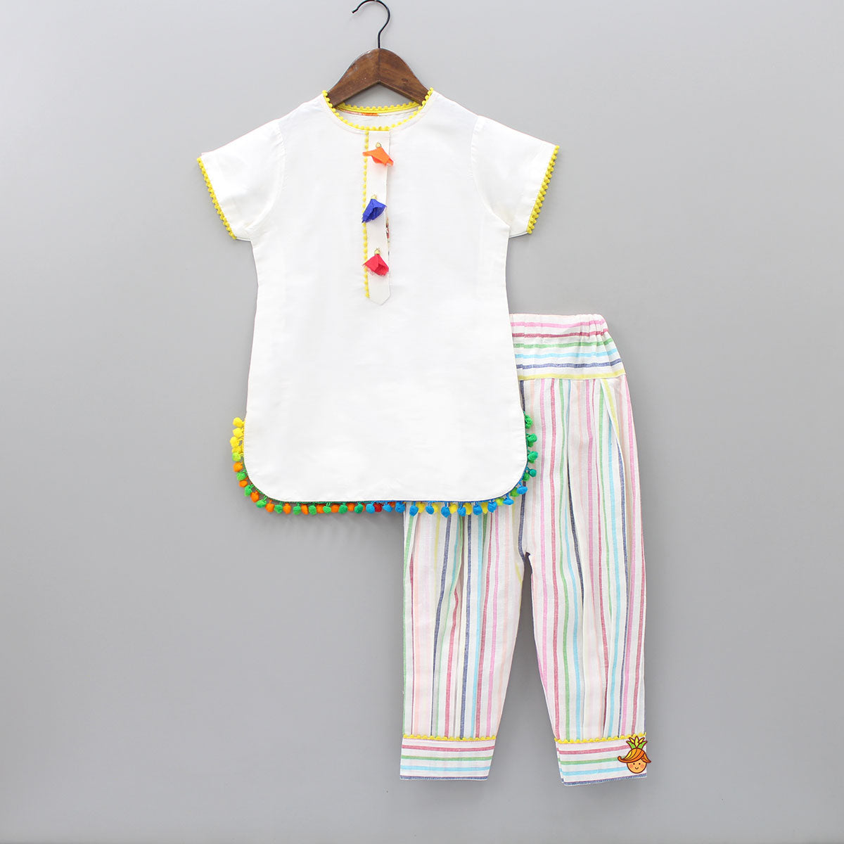 Pre Order: Kurta With Multi Color Stripped Pant