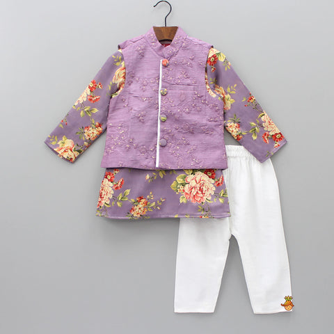 Pre Order: Floral Kurta With Thread Work Jacket And Pyjama