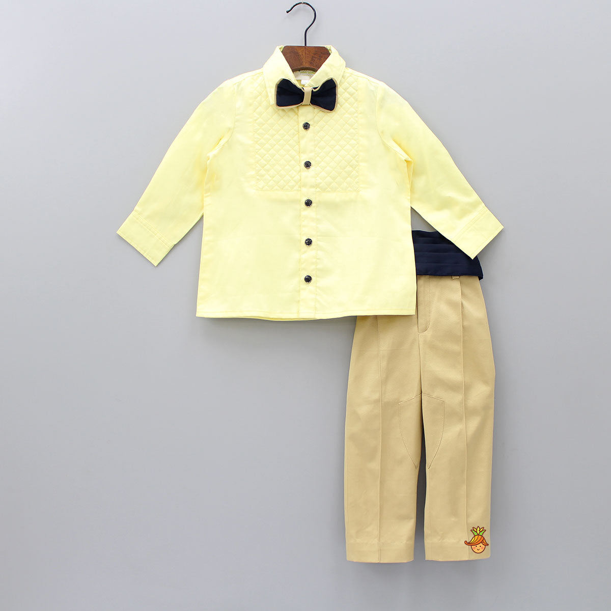 Pre Order: Quilt Shirt With Tuxedo Belt And Pant