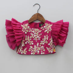 Pre Order: Embroidered Top With Layered Lehenga