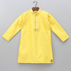 Polka Dot Yellow Kurta With Dhoti