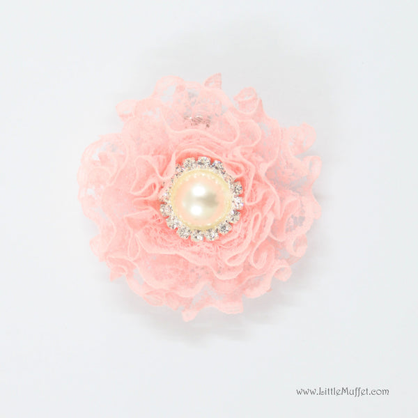 Lace Flower Clip- Pink