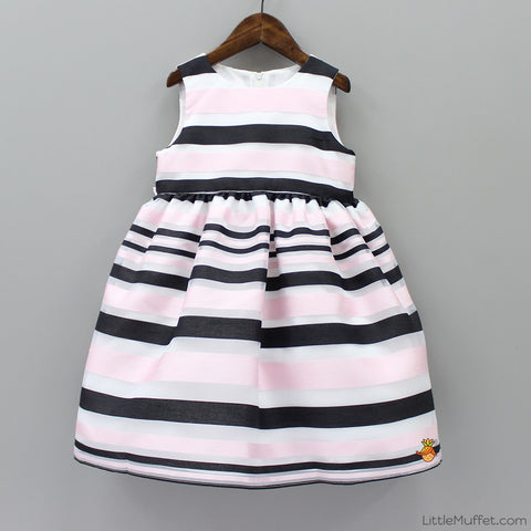 Pink And Black Stripes Dress