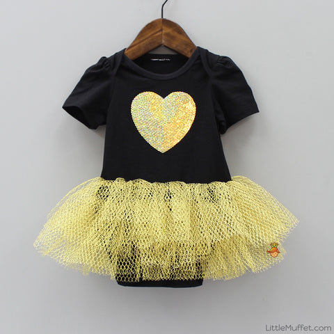 Golden Heart Ballerina Romper