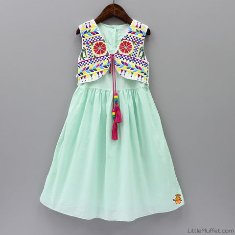 Embroidered Jacket Dress - Sea Green