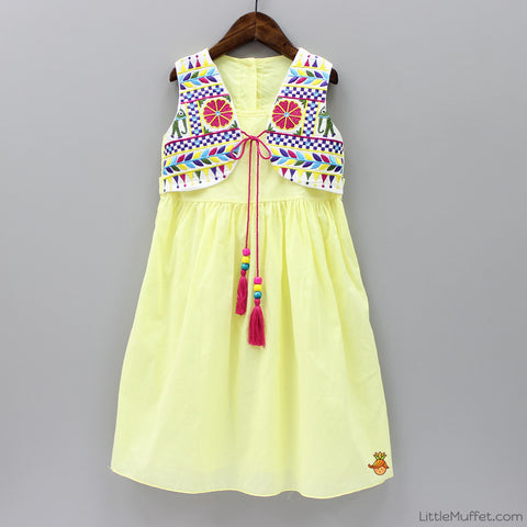 Embroidered Jacket Dress - Yellow