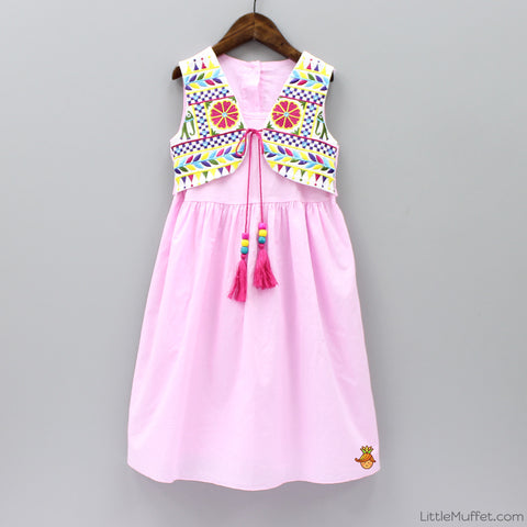 Embroidered Jacket Dress - Pink