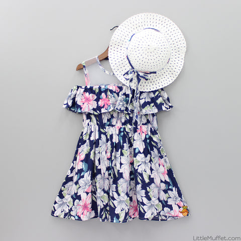 Flowery Cold Shoulder Dress With Hat