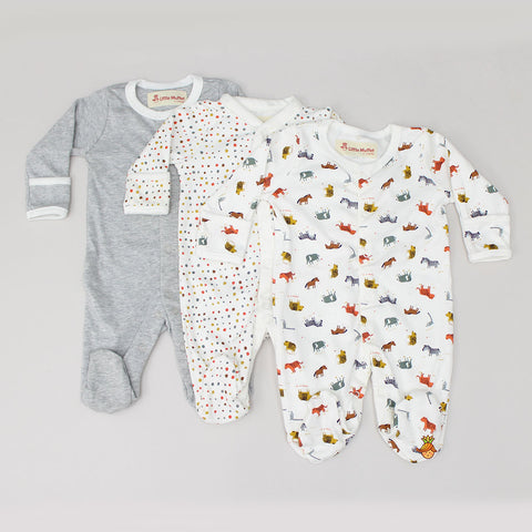 Wild Life Print Bodysuit - Set Of 3