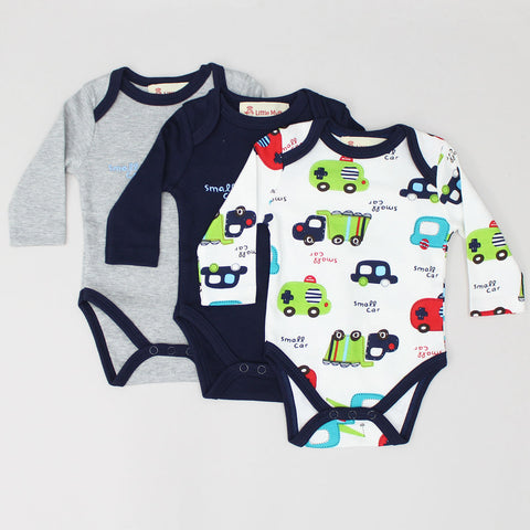 Small Car Print Bodysuit - Set Of 3