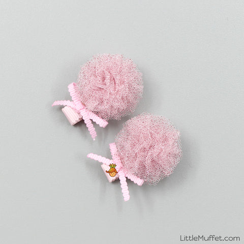 Baby Pink Flower - 2 Shimmer Clips Set