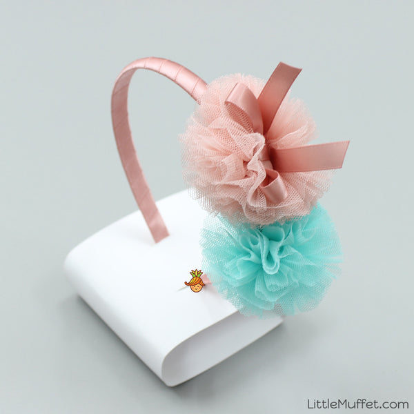 Twin Flower Bow Hair Band
