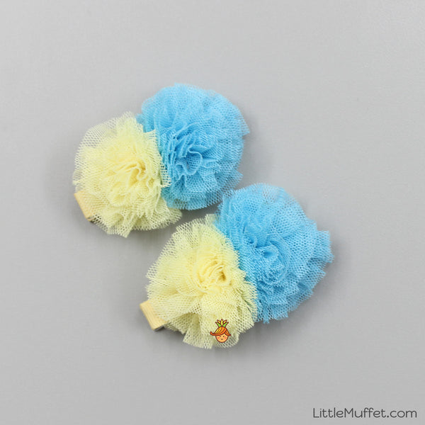 Blue & Yellow Flower - 2 Clips Set