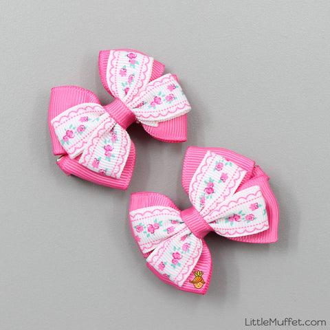 Pink Bow Clips- Set of 2 Clips